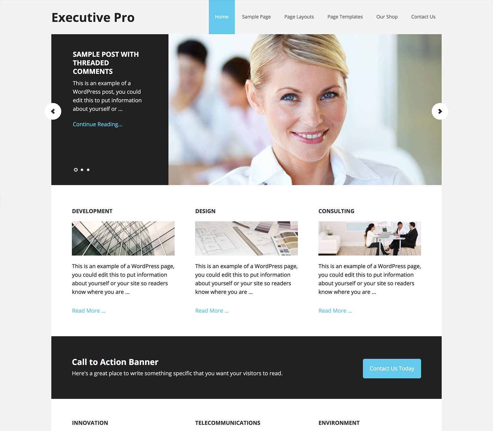 Plantilla de diseño para una página corporativa