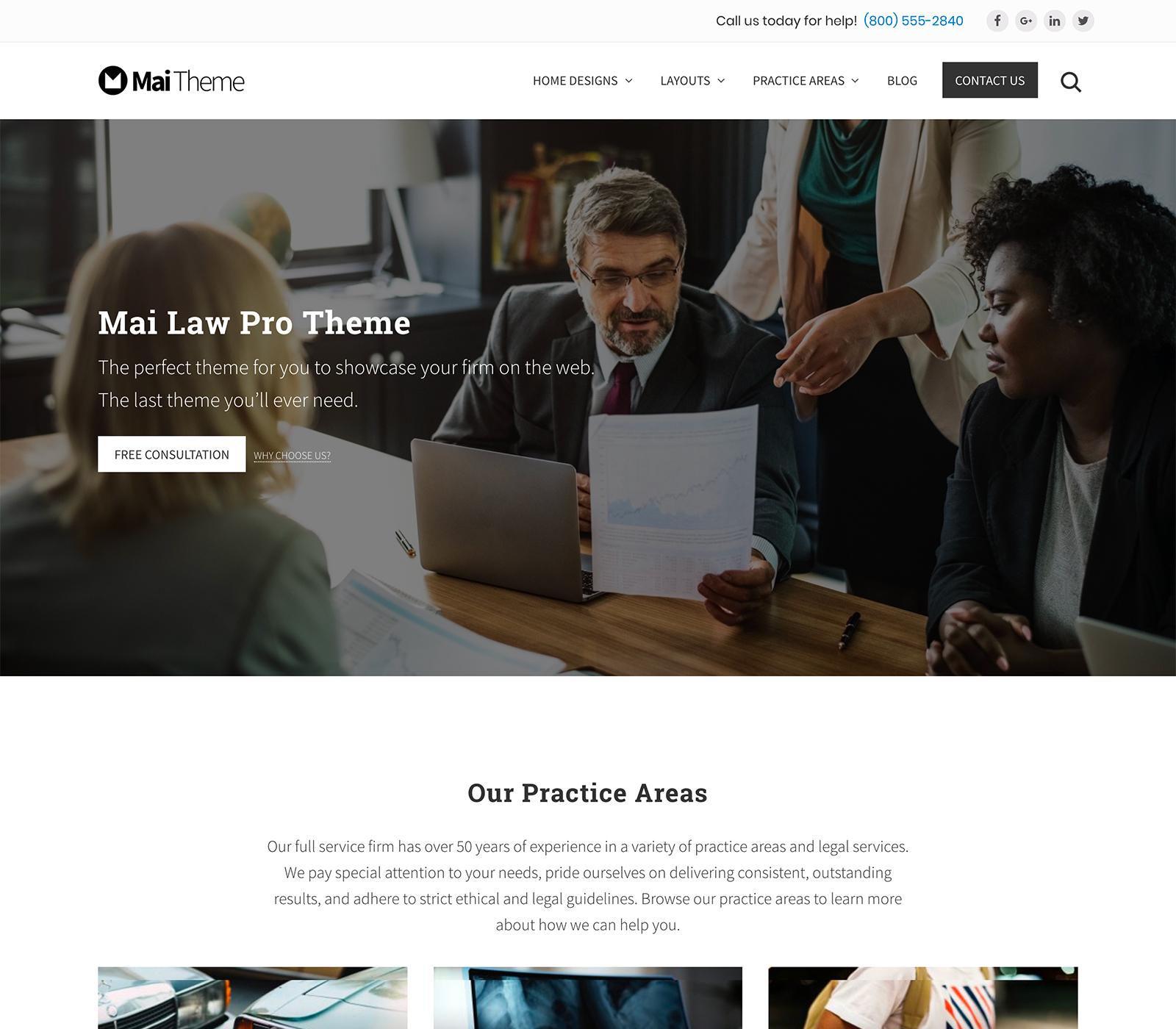 Mai Law Pro: tema gráfico para una página web de abogados o prácticas profesionales